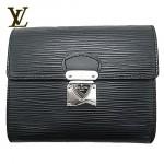 LV M58012-黑色水波紋采用按鎖開合錢包