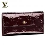 LV M91998酒紅-壓花漆皮按扣式長款錢包