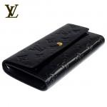 LV M93525黑-黑色漆皮壓紋長款按扣錢夾