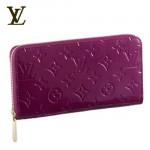 LV M93575紫-女士亮皮單拉鏈長款錢包