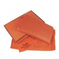 Hermes H010荔枝紋 女士錢包 橙色