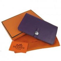 Hermes H001紫色 女士長款牛皮錢包 荔枝紋真皮錢夾