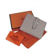 Hermes H006灰色短夾 真皮錢夾