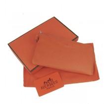 Hermes H010橙色 牛勁紋中長款錢包