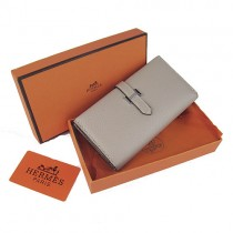 Hermes H005灰色 牛皮加工鱷魚紋 長款女士錢包 錢夾