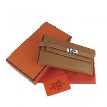 Hermes H009牛皮牛勁紋 顶級质量時尚中長款錢包淺啡色