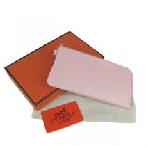 Hermes H010粉紅色 荔枝紋中長款錢包