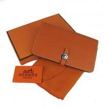 Hermes H001橙色荔枝紋中長款錢包