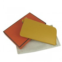 Hermes H010黄色荔枝紋牛皮 中長款女士錢包護照包