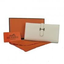 Hermes H005米白色荔枝紋長款錢包