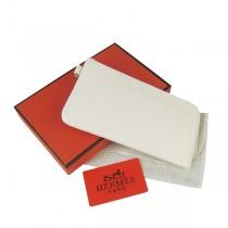 Hermes H010米白 限量复古 中長正品品质全牛皮女士錢包真皮皮夾荔枝紋