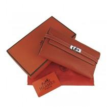 Hermes H009 橙色 女士全牛皮荔枝紋長款錢包 手包 宴会包