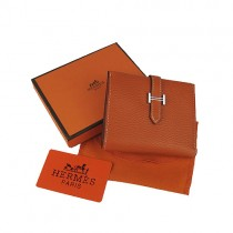 Hermes H006橙色短夾 女士真皮錢夾