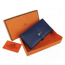 Hermes H005深藍色 牛皮錢夾  顶級质量