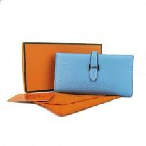 Hermes H005淺藍色 荔枝紋 中款二折真皮 錢包