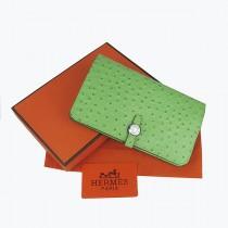 Hermes H001淺綠色 牛皮加工驼鸟紋 女士中長款錢包 錢夾