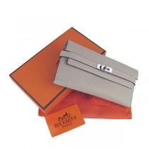 Hermes H009灰色 錢包 真皮包女士中長款 錢夾