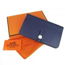 Hermes H001深蘭  女士 錢包 錢夾 護照本 牛皮 手包