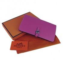Hermes H001桃紅 時尚女士全牛皮荔枝紋錢包 錢夾