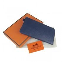 Hermes H010深藍色荔枝紋 Hermes爱马仕 女款中長款錢包 全牛皮錢夾