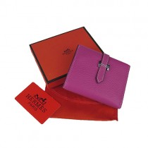 Hermes H006桃紅色真皮 短款 錢包