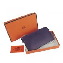 Hermes H010 紫色荔枝紋牛皮 中長款女士錢包護照包