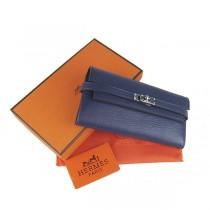 Hermes H009 深藍色 女士長款全皮荔枝紋錢包 手包 宴会包