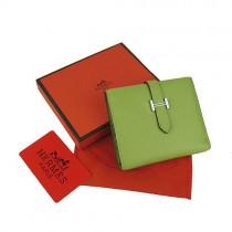 Hermes H006綠色 荔枝紋 真皮 短款 錢包