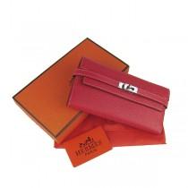 Hermes H009紅色 女士長款錢包 牛皮錢夾 皮夾
