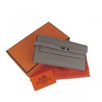Hermes H009灰色牛勁紋 女士錢包 牛皮錢包 女士錢夾 長款