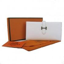 Hermes H005白色荔枝紋長款錢包