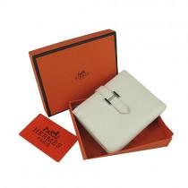Hermes H006米白色 荔枝紋 真皮 短款 錢包