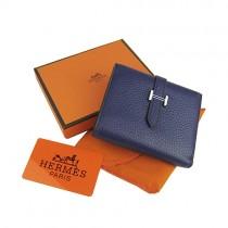 Hermes H006深蘭色 真皮頭層牛皮 錢包錢夾皮夾 男女適用  經典兩折短款