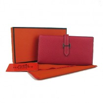 Hermes H005大紅 時尚女錢包 新款頭層牛皮