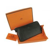 Hermes H010黑色 新款荔枝紋中長款錢包
