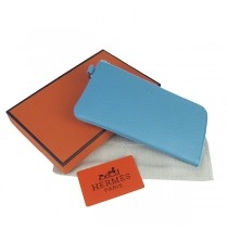 Hermes H010 淺藍色 荔枝紋 長款拉鏈錢包