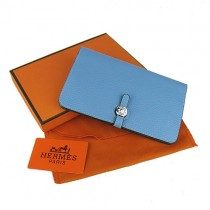 Hermes H001淺蘭色韩版 時尚長款 錢包錢夾皮夾 男女適用