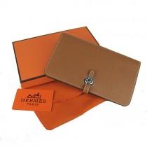 Hermes H001淺啡 荔枝紋 護照包 長款女士錢包 真皮皮夾