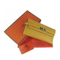 Hermes H009黄色女式牛皮長錢夾