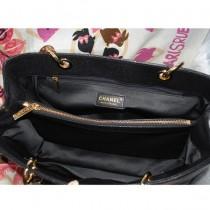 CHANEL 36092-3 新款GST經典黑色金鏈牛皮進口魚子酱原皮女士購物袋