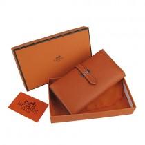 Hermes H005橙色荔枝紋長款錢包