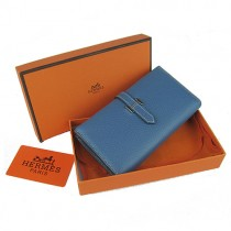 Hermes H005中藍色 荔枝紋 中款二折真皮 錢包