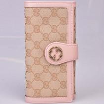 Gucci 269970  最新款粉色皮配布長款錢包