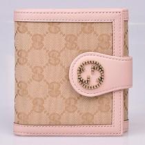 Gucci 269975  最新款粉色皮配布三折短款多卡位錢夾