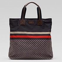 Gucci 268112-1 秋冬新款男女通用時尚帆布紅藍織帶購物袋