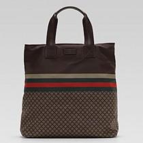 Gucci 268112 秋冬新款男女通用時尚帆布紅藍織帶購物袋-特