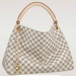 LV N41174 新款白色棋盤格女士單肩手提包