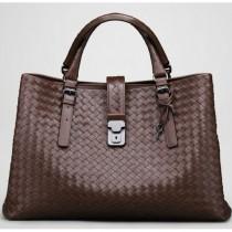 BV 7453-3 奢华明星最爱經典款 咖啡色羊皮手工编织包