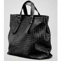 BV 9646-3 奢华明星最爱經典款 黑色羊皮手工编织包