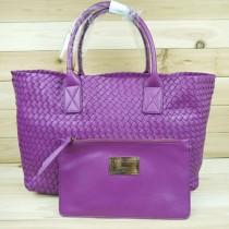 BV 5211-19 安以轩/王菲同款女包 紫色羊皮编织包